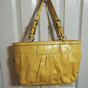 Coach pleated patent leather yellow bag